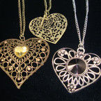 "24"" Gold & Silver Chain Necklace w/ 2"" Mixed Style Heart Pendants"