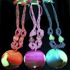 "18"" Multi Strand Seed Bead Neck Set w/ 2"" Gradiant Shell Pendant Fall Colors"