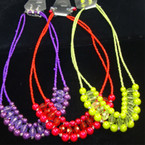 "18"" Multi Strand Neck Set w/ Colored Beads & Pearls Asst Bright Colors"