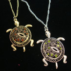 "24"" Gold & Silver Chain Necklace w/ 2.25"" Crystal Stone Cast Turtle Pendant"