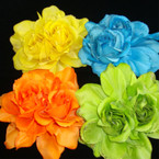 "5"" DBL Rose Silk Flower Bow w/ Light Glitter 3 in 1 Use Mixed Bright Colors"