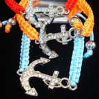 "Colorful Braid Cord Bracelet w/ 1.25"" Silver Crystal Stone Anchor"