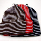 "8"" Asst Color Stripe Pattern Beanie Knit Winter Caps ONLY .56  EACH"