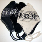 Winter Knit Beanie Cap w/ Dangle Braids & Snowflake Print 3 colors $ 1.00 ea