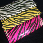 "4"" X 7.5"" Zebra Print Metalic Hard Wallets Asst Colors"
