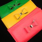 "4"" X 7"" Asst Bright Color Vinyl Fashion Wallet w/ Bow"