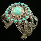 "2"" Wide Silver Hi Fashion Cuff Bangle w/ Turquoise Bead & Crystals sold by pc"