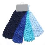 """4 Pk Asst Bluetones Color 1.5"""" Crochet Headwraps 12-4pks per bag"""