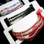 3 Line Silver Tennis Bracelet w/ Bubble Stones Asst Colors .42 ea