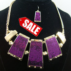 "18""-20"" Gold Chain Neck Set w/ Purple Sparkle Pendant SALE ITEM $ 2.25 per set"