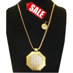 "36"" Antique Gold Chain Neck Set w/ 3"" Textured Pend. SALE ITEM $ 1.25 per set"