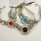 Silver Fashion Bracelet w/ Colored Stone .54 ea