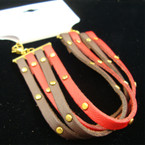 4 Strand Brown/Burg Leather Fashion Bracelet w/ Gold Studs .33 ea