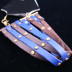 4 Strand Brown/Royal Blue Leather Fashion Bracelet w/ Gold Studs .33 ea