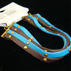 4 Strand Brown/Turq. Blue Leather Fashion Bracelet w/ Gold Studs .33 ea