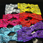 "6"" Multi Layer Zebra Print Gro Grain Bow on Gator Clip .42 ea"
