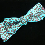 "6"" Multi Layer Leopard Print Gro Grain Bow on Gator Clip .25 ea"