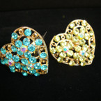 Gold Heart Fashion Ring w/ Spring Color Crystal Stones