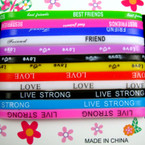 12 Pk Friendship Saying Band Bracelets