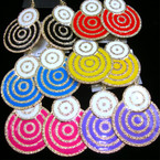 "2.5"" Colorful Earring w/ Gold Swirl Design  .54 ea"