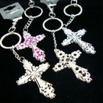 "2.25"" Cast Silver Metal Cross Keychain/Purse Charm w/ Crystal Stones"