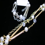 Gold & Silver Fashion Chain Bracelet w/ Pearl & Gllass Beads Plus Dbl Crosses