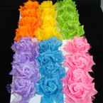 "4 Pk 3"" Silk Flower w/ Poka Dot Lace on Gator Clip 12-4 pks per bx"
