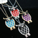 "Gold & Silver Chain Necklace w/ 3"" Colored Owl Pendant"
