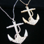 "24"" Gold & Silver Chain Necklace w/ 2.75"" Crystal Stone Anchor"