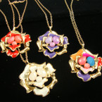 "20"" Gold Chain Necklace w/ Gold Casting Colored Flower"