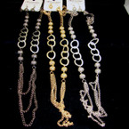 "30"" Fashionable Chain Necklace Set w/ Oval Link 3 colors"