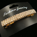 "2.75"" Triple Row Rhinestone Gold Barrette"
