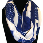 Asst Color Infinity Scarf Two Tone Color w/ Mini Poka Dots