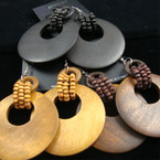 "2.5"" Asst Browntone & Blk Wood Earring w/ Beads"