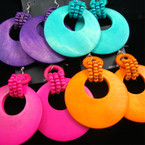 "2.5"" Asst Bright Color Wood Earring w/ Beads"