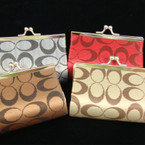 "4"" Asst Color Snap Closure Coin Purse Designer LOOK ""C"" Print .60 ea"