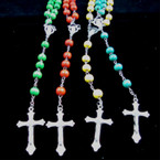 Asst Bright Color Wood Bead Rosary w/ Silver Cross w/ JESUS .54 ea