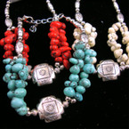 Asst Color Stone Bead & Silver Fashion Bracelet .54 ea