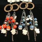 """6"""" Dangle Fashion Earring w/ Wood Beads & Elepant Charms .27 each"""