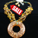 "20"" 3 Strand Chip Shell & Seed Bead Neck Set w/ Resin Donut Pend Browntone sold by set"