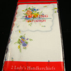 Ladies White 2 Pack Flower Print Handerchiefs 12-2 pks per bag