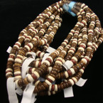 "18"" Coco Wood Bead Necklace Medium Brown & White"