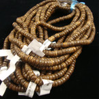 "18"" Coco Wood Bead Necklace Dark Wood Color"