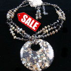 "16""-18"" 3 Strand Neck Set w/ 2.75"" Inlay Stone Resin Pendant sold by set"