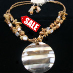 "16"" 2 Strand Bead & Shell Neck Set w/ 2.5"" Stripe Shell Pend. sold by set"