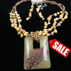 "16"" 3 Strand Necklace w/ Chip Shell w/ 2.75"" Square Resin Feather Inlay Pend. sold by set"