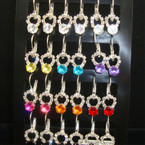 Clear Rhinestone Euro Wire Earring w/ Rd. Colored Crystal Stone 12 pr display