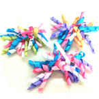 Multi Pastel Color Curly Ribbon Bow on Gator Clip