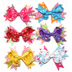 "5"" Gro Grain Bow on Gator Clip Multi Ribbon Dots,Chevron,Cherry & Flake Print"