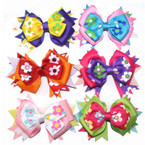 "5"" Gro Grain Bow on Gator Clip Multi Ribbon 2 Layer Bow w/ Flower Prints"